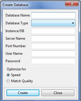Create Databases dialog